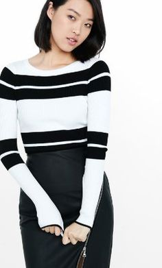 e7affd9e7b blocked stripe fitted crew neck sweater from EXPRESS New Wardrobe