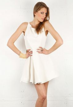 Alexis Anne Short Flared Dress with Keyhole Back in White