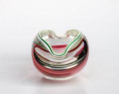 Czech Borocrystal Bowl / Glass Ashtray / Red Green