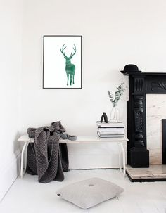 Reindeer Watercolour Illustration (Green) - Printable Illustration…