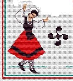 0 point de croix paysanne basque - cross stitch basque peasant country girl