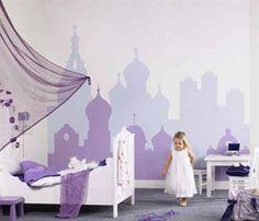 Eijffinger wallpaper 'Bohemian Skyline' baby girls room lavender purple