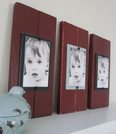 Set of Three 2 Plank Frames  for 4X6 Pictures by ProjectCottage, $84.95 - Would be an easy DIY project.  Like the idea of larger photos than 4x6 too