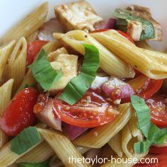 Caprese Pasta Salad with Mozzarella, Basil and fresh tomatoes