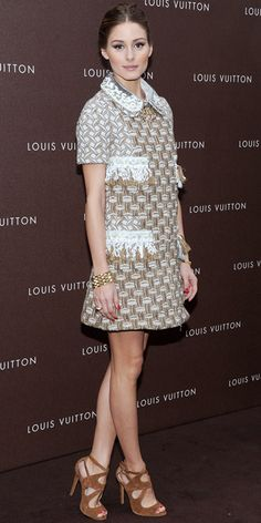 04/24/13: Olivia Palermo helped open Louis Vuitton's Munich boutique in the label's embellished shift, a woven bracelet and suede sandals. #lookoftheday