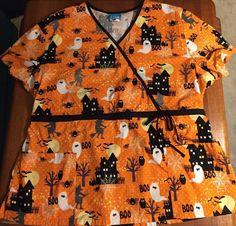 Scrub HQ Sz 2XL Halloween Ghost BOO Scrub Mock Wrap Witch Spiders 100% Cotton #ScrubHQ
