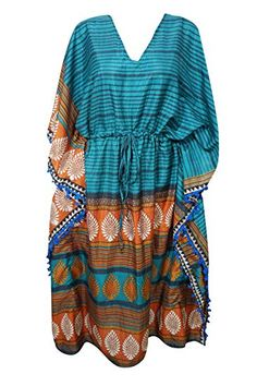 d7dc87162b73 Mogul Interior Womens Maxi Kaftan Dress Teal Blue Printed Tassel Resort Wear  Caftan One Size: Amazon.co.uk: Clothing