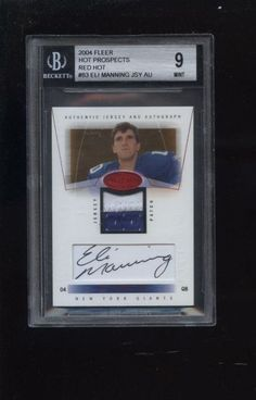 2004 FLEER HOT PROSPECTS RED HOT ELI MANNING JERSEY RELIC AND AUTO 9 MINT 20/50
