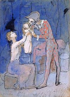 Pablo Picasso - Famille d'Arlequin, gouache and ink on card laid down on cradled panel, x cm Image Sotheby's Kunst Picasso, Art Picasso, Picasso Blue, Picasso Paintings, Georges Seurat, Georges Braque, Post Impressionism, Impressionist, Cubist Movement