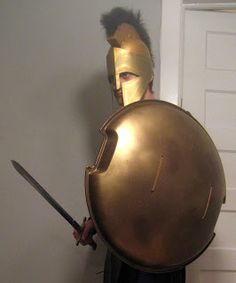 Chuck Does Art: DIY Spartan Hoplite Costume: How to Make a Helmet...oh and a sled for a shield duh