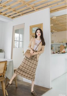 T-Shirts, Dress, Blouse, Skirts, Pants & Korean Spring Outfits, Spring Outfits Women, Girls Summer Outfits, Summer Fashion Outfits, Korean Spring Fashion, Long Skirt Fashion, Long Skirt Outfits, Frock Fashion, Retro Fashion