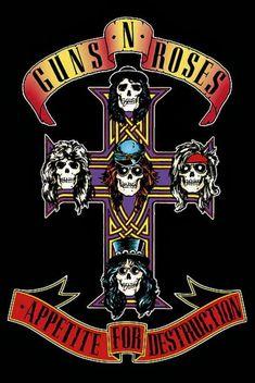 Guns N' Roses Skulls on Cross Axl Rose Music Poster Rock Band Posters, Rock Band Logos, Pop Rock, Rock N Roll, Tatuagem Guns N Roses, Roses Quotes, Rock Vintage, Rock Room, Appetite For Destruction