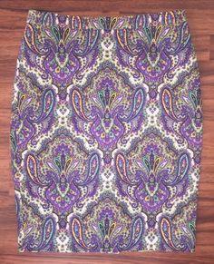J Crew NWT $128 Paisley Pencil Skirt Royal Purple Size 8 Cotton Stretch #57494  | eBay