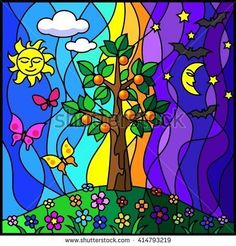 Nature, Day and Night. Tree, flowers and grass. Stained glass style. Stained glass window