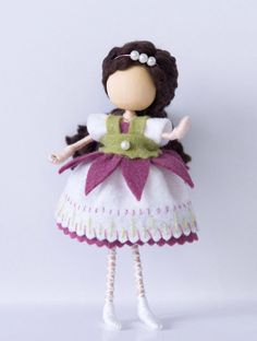 Waldorf inspired flower doll, pink white and green flower doll, miniature art doll, bendy doll