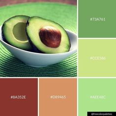 It's National Avocado Day! Green Paint Colors, Green Color Schemes, Color Combos, Paint Color Palettes, Paint Color Schemes, Earthy Color Palette, Colour Pallete, Color Harmony, Color Balance