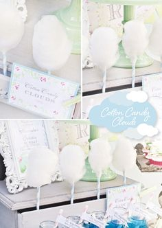 Cotton Candy Clouds for a Rain Inspired Baby Shower. Gourmet cotton candy available from Fluffpop! www.fluffpop.com