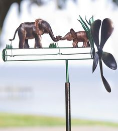 Mother And Baby Elephant Recycled Metal Whirligig - Wind & Weather Exclusive Design