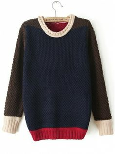 dark blue long sleeve round neck pullover cotton sweater  $39.99 www.clothesway.net