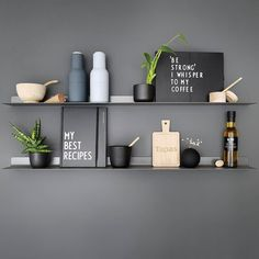 Happy new week! How gorgeous is this shelfie by 👈🏻 Menu Bottle Grinders in blue are now back in stock 💫 . Home Decor Kitchen, Kitchen Interior, Objet Deco Design, Black Wall Decor, Kitchen Pictures, Shelfie, Kitchen Cabinet Design, Minimalist Kitchen, Scandinavian Home