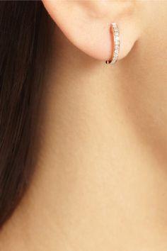 Anita Ko|Huggy 18-karat rose gold diamond hoop earrings|NET-A-PORTER.COM