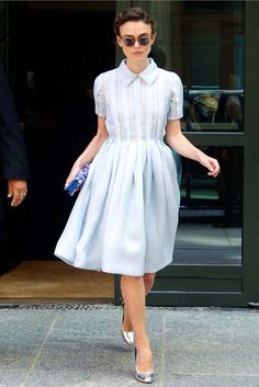 Keira Knightley was spotted out and about in Manhattan, dressed in a girly Prada dress and accessories.