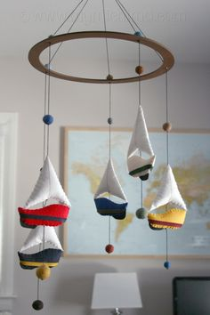 Sail Away - Decorative Hanging Mobile - Stuffed Felt Sailboats  to buy on etsy