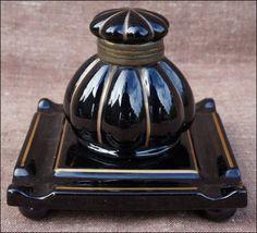 Elegant Inkwell Black Gold Enameled Porcelain 1890