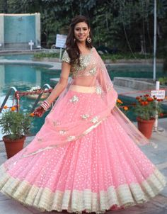 Pink heavy embroidered Indian wedding bridal lehenga choli with embroidered dupatta Half Saree Lehenga, Lehnga Dress, Bridal Lehenga Choli, Indian Lehenga, Lehenga Skirt, Heavy Lehenga, Lehenga Dupatta, Designer Bridal Lehenga, Pink Lehenga
