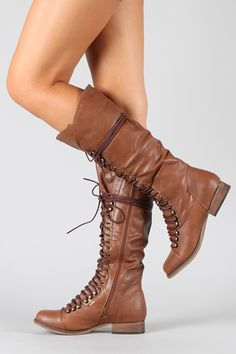 Breckelle Georgia-25 Military Lace Up Knee High Boot $39.20