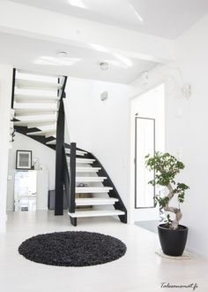 Black and white stairs interiors 50 ideas Entry Stairs, House Stairs, Open Stairs, Interior Stairs, Home Interior, Interior Design, Black And White Hallway, Black And White Interior, Inside A House