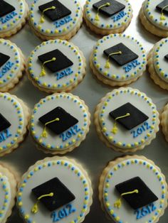 Graduation Cap cookies - Cute grad cookies. Royal icing with a diamond cut out of black fondant.