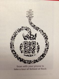 musicQR School of Rock magazine ad with QR Code. Beautifull QR Code in their logo!