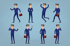Set of Happy office man. Vector  @creativework247