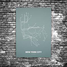 New York City C4 - Acrylic Glass Art Subway Maps (Acrylglas, Underground)