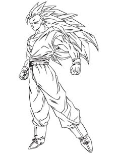 dragon ball z son goku super saiyan three coloring pages for kids printable dragon ball z coloring pages for kids
