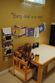 I really like the pins and clothesline idea for hanging up pictures. It'd be cool to hang photos or pieces of art across the top of a classroom whiteboard.