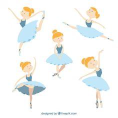 bailarina linda em diferentes poses Vetor grátis