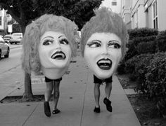 creepy but cool walking heads #mask #photography