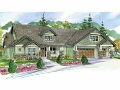 Craftsman House Plan with 3739 Square Feet and 4 Bedrooms from Dream Home Source   House Plan Code DHSW66634