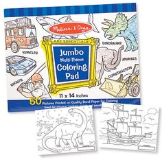 Melissa & Doug Jumbo Coloring Pads, any type, and other paper/utensils to be used with their crayons and paints