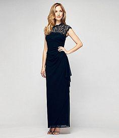 Mother of the bride/groom dress: Alex Evenings Open-Back Lace-Yoke Dress | Dillards.com