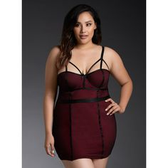 188aab7c5a Torrid Strappy Fishnet Chemise ( 30) ❤ liked on Polyvore featuring plus  size women s fashion