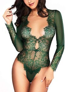 5a862ca5cf Women Sexy Lingerie Long Sleeve Bodysuit Sexy Lace Deep V Bodysuit Lingerie  Sheer Teddy Lingerie Green XL    Check out this great product.