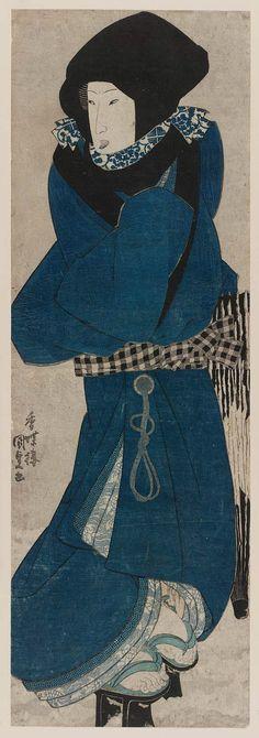 Woman with Black Hood in Snow  Japanese Artist Utagawa Kunisada I (Toyokuni III) (Japanese, 1786–1864)