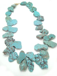 """lovely 29"""" custom turquoise magnesite statement necklace; contact lisaellenkerns@gmail.com to get your own (though all slightly different to keep them truly unique)!!"""