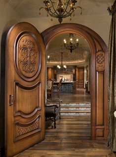 Craftsmen in Wood, Mfg. - Custom Wood Doors and Cabinet Fronts Wooden Front Door Design, Door Gate Design, Custom Wood Doors, Wooden Doors, House Doors, Facade House, Exterior Entry Doors, Village House Design, Cool Doors