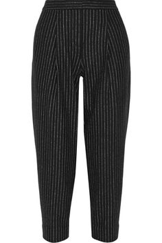 A modern take on a workweek staple, DKNY's cropped pants have subtle pleating to accentuate the flattering tapered leg. This pinstriped pair is tailored from structured wool-blend and finished with convenient slant pockets. Continue the androgynous feel with sneakers or brogues.