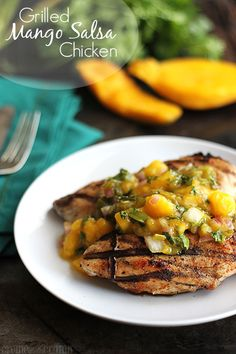 Grilled Mango Salsa Chicken http://lecremedelacrumb.com/2013/08/grilled-chicken-with-fresh-mango-salsa.html