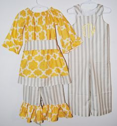 Matching sibling outfits in grey and yellow girls ruffle pants and boys matching longall. $90.00, via Etsy.